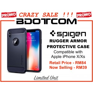 (CRAZY SALES) Original Spigen Rugged Armor Protective Cover Case for Apple iPhone X/Xs (Midnight Blue)