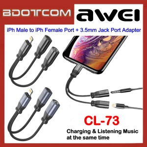 Awei CL-73 2A Lightning Male to Lightning Female Port + 3.5mm Jack Port Adapter for Apple iPhone 7 / iPhone 8 / iPhone X / iPhone SE 2 / iPhone XR / iPhone Xs Max / iPhone 11 / iPhone 11 Pro