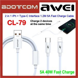 Awei CL-79 2 in 1 Lightning + Type-C Interface 1.2M 5A Fast Charge Data Cable for Samsung / Apple / Xiaomi / Huawei / Oppo / Vivo