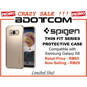 (CRAZY SALES) Original Spigen Thin Fit Protective Cover Case for Samsung Galaxy S8 (Gold Maple)