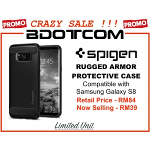 (CRAZY SALES) Original Spigen Rugged Armor Protective Cover Case for Samsung Galaxy S8 (Black)