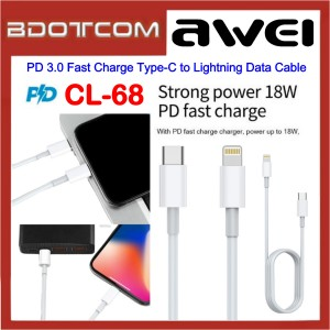 Awei CL-68 PD 3.0 Fast Charge Type-C to Lightning Data Cable for Samsung / Apple / Xiaomi / Huawei / Vivo / Oppo
