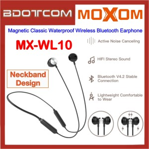 Moxom MX-WL10 Magnetic Classic Waterproof Wireless Bluetooth Earphone for Samsung / Apple / Xiaomi / Huawei / Oppo / Vivo