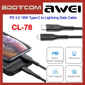 Awei CL-78 1000mm PD 3.0 18W Type-C to Lightning Data Cable for Samsung / Apple / Huawei / Xiaomi / Vivo / Oppo