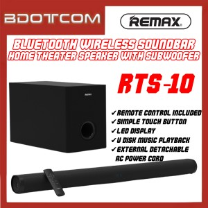 Remax RTS-10 Bluetooth Wireless Soundbar Home Theater System Speaker with Subwoofer