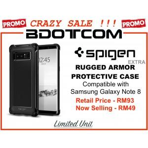 (CRAZY SALES) Original Spigen Rugged Armor EXTRA Protective Cover Case for Samsung Galaxy Note 8 (Black)