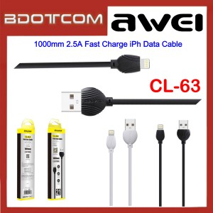 Awei CL-63 1000mm 2.5A Fast Charge Lightning Data Cable for Apple iPhone 11 Pro Max, Xs, XR, iPhone 8, 8 Plus, iPhone 7, 7 Plus, iPhone 6s, 6s Plus, iPhone SE, iPod Touch