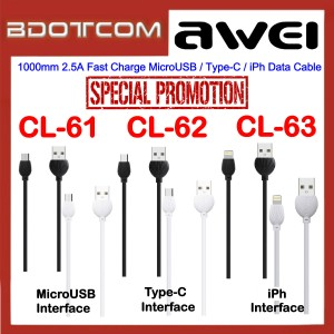 [PROMOTION] Awei 1000mm 2.5A Fast Charge MicroUSB / Type-C / Lightning Data Cable for Samsung / Apple / Huawei / Oppo / Xiaomi / Vivo