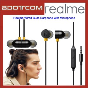 Realme Wired Buds Earphone with Microphone for Samsung / Apple / Xiaomi / Huawei / Oppo / Vivo