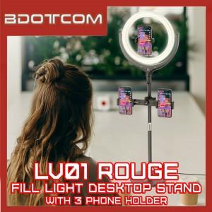 Hoco LV01 Rouge Beauty Fill Light Desktop Stand with 3 Mobile Phone Holder for Youtuber / Tik Tok / EleLive / Live / Zoom / BigoLive /Selfie / Makeup / Studio