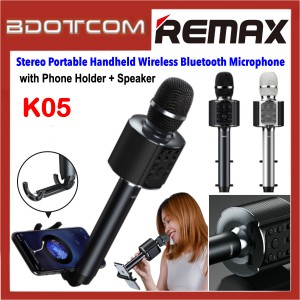 Remax K05 Stereo Portable Handheld Wireless Bluetooth V4.2 Microphone with Speaker + Phone Holder for Samsung / Apple / Xiaomi / Huawei / Oppo / Vivo