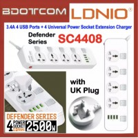 LDNIO SC4408 Defender Series 3.4A 4 USB Ports + 4 Universal Power Socket Desktop Extension Home Charger with 2M Cord for Samsung / Apple / Xiaomi / Huawei / Oppo / Vivo