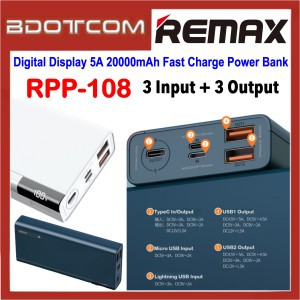 Remax RPP-108 Riji Digital Display 5A 20000mAh 3 Input + 3 Output Fast Charge Power Bank for Samsung / Apple / Xiaomi / Huawei / Oppo / Vivo