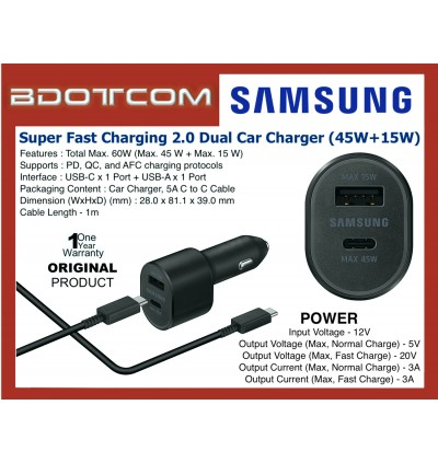 Original Samsung Super Fast Charging 2.0 (PD 3.0 PPS Max) Dual Port Car Charger (USB-C Max 45W + USB-A Max 15W) with TYPE-C to TYPE-C Cable for Samsung Galaxy Tab S4, Tab S5E, Tab S6, Tab S6 Lite, Note10 Lite, Note 10 Plus, S20, S20+, S20 Ultra