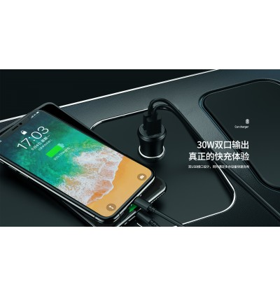 Remax RCC-223 WYCHE Series 30W Dual USB Ports QC3.0 Fast Charge Car Charger for Samsung / Apple / Huawei / Xiaomi / Oppo / Vivo / Toyota / Honda / Mazda / Proton / Perodua, BMW / Benz Mercedes