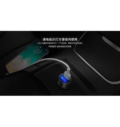 Remax RCC220 Rechan Series 2.4A Dual USB Ports Fast Charge Car Charger for Samsung / Apple / Huawei / Xiaomi / Oppo / Vivo / Toyota / Honda / Mazda / Proton / Perodua, BMW / Benz Mercedes