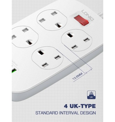 LDNIO SK4463 18W QC 4 USB Ports + 4 Power Socket Desktop Extension Home Charger with 2M Cord for Samsung / Apple / Xiaomi / Huawei / Oppo / Vivo