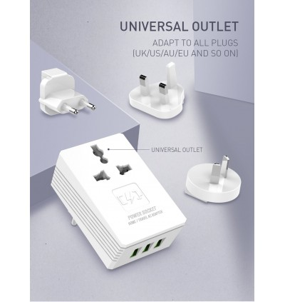LDNIO A3306 3.4A 3 USB Ports + Power Socket Travel Wall Charger with EU / UK Plug for Samsung / Apple / Xiaomi / Huawei / Oppo / Vivo