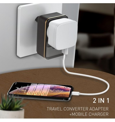 LDNIO SC1205 2.4A Dual USB Ports + Power Socket Travel Wall Charger with EU Plug for Samsung / Apple / Xiaomi / Huawei / Oppo / Vivo