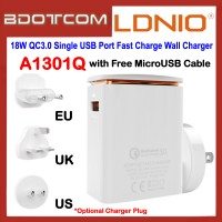 LDNIO A1301Q 18W QC3.0 Single USB Port Fast Charge Wall Charger with MicroUSB Cable / EU / US / UK Plug for Samsung / Apple / Huawei / Xiaomi / Oppo / Vivo