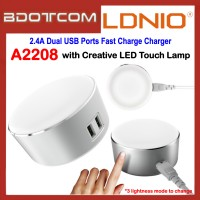 LDNIO A2208 Creative LED Touch Lamp + 2.4A Dual USB Ports Fast Charge Charger for Samsung / Apple / Huawei / Xiaomi / Vivo / Oppo