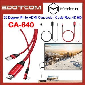 Mcdodo CA-640 2M 90 Degree Lightning to HDMI Conversion Cable Real 4K HD for TV / Monitor / Projector / Apple iPhone 7 / iPhone 8 / iPhone X / iPhone SE 2 / iPhone XR / iPhone Xs Max / iPhone 11 / iPhone 11 Pro