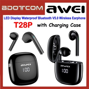 Awei T28P LED Display Waterproof Bluetooth V5.0 Wireless Earphone with Charging Case for Samsung / Apple / Xiaomi / Huawei / Oppo / Vivo