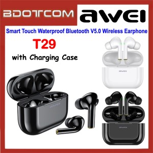 Awei T29 Smart Touch Waterproof Bluetooth V5.0 Wireless Earphone with Charging Case for Samsung / Apple / Xiaomi / Huawei / Oppo / Vivo