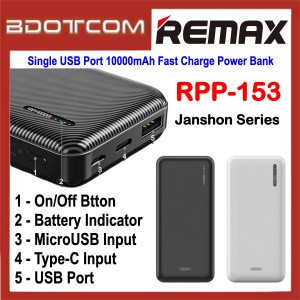 Remax RPP-153 Janshon Series Single USB Port 10000mAh Fast Charge Power Bank for Samsung / Apple / Xiaomi / Huawei / Oppo / Vivo