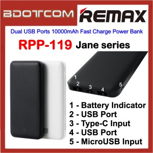 Remax RPP-119 Jane Series Dual USB Ports 10000mAh Fast Charge Power Bank for Samsung / Apple / Xiaomi / Huawei / Oppo / Vivo