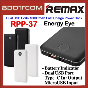 Remax RPP-37 Energy Eye Dual USB Ports 10000mAh Fast Charge Power Bank for Samsung / Apple / Huawei / Xiaomi / Oppo / Vivo