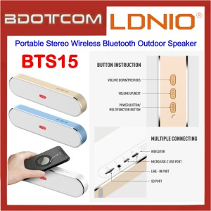 LDNIO BTS15 Portable Stereo True Wireless Bluetooth V5.0 Outdoor Speaker for Samsung / Apple / Xiaomi / Huawei / Oppo / Vivo