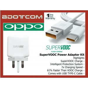 OPPO SuperVOOC Power Adapter Travel Charger with USB TYPE-C Cable for Oppo A91, A92, Find X2 5G, Reno 2, Reno 3, Reno 3 Pro, Reno 4, Reno 4 Pro