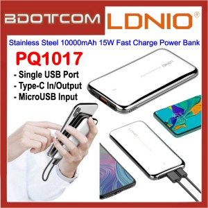 LDNIO PQ1017 Stainless Steel Singe USB Port 10000mAh 15W Fast Charge Power Bank for Samsung / Apple / Huawei / Xiaomi / Oppo / Vivo