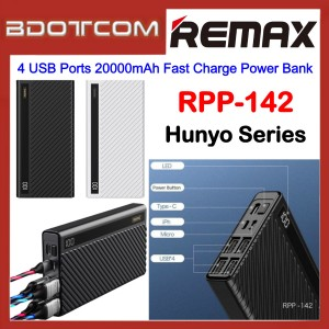 Remax RPP-142 Hunyo Series 4 USB Ports 20000mAh Fast Charge Power Bank for Samsung / Apple / Xiaomi / Huawei / Oppo / Vivo