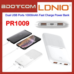 LDNIO PR1009 Dual USB Ports 10000mAh Fast Charge Power Bank for Samsung / Apple / Huawei / Xiaomi / Vivo / Oppo