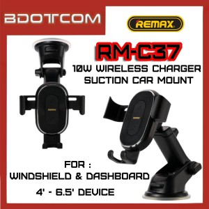 Remax RM-C37 10W Wireless Charger and Suction Car Mount Phone Holder for Dashboard and Windshield