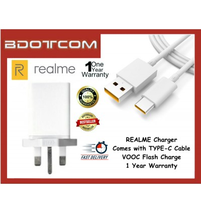 Realme VOOC Flash Charging Power Adapter Travel Charger with USB TYPE-C Cable for Realme X50 Pro 5G, Realme X2 Pro, Realme X3, Realme 6i, Oppo Find X2 Pro, Oppo Reno 3 Pro