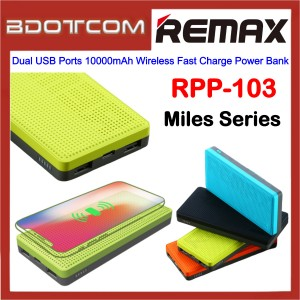 Remax RPP-103 Miles Series Dual USB Ports 10000mAh Wireless Fast Charge Power Bank for Samsung / Apple / Xiaomi / Huawei / Oppo / Vivo