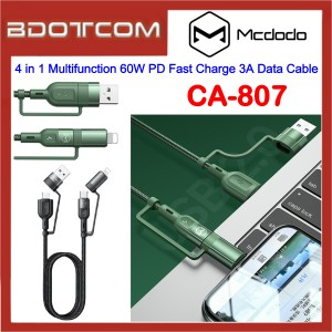 Mcdodo CA-807 4 in 1 Multifunction 60W PD Fast Charge 3A Data Cable for Samsung / Apple / Xiaomi / Huawei / Oppo / Vivo