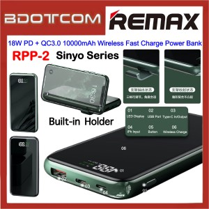 Remax RPP-2 Sinyo Series 18W PD + QC3.0 10000mAh Wireless Fast Charge Power Bank with Built-in Phone Holder for Samsung / Apple / Huawei / Xiaomi / Vivo / Oppo