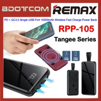 Remax RPP-105 Tangee Series 18W PD + QC3.0 Single USB Port 10000mAh 10W Wireless Fast Charge Power Bank for Samsung / Apple / Huawei / Xiaomi / Oppo / Vivo