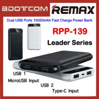 Remax RPP-139 Leader Series Dual USB Ports 10000mAh Fast Charge Power Bank for Samsung / Apple / Huawei / Xiaomi / Oppo / Vivo