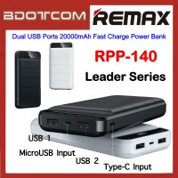 Remax RPP-140 Leader Series Dual USB Ports 20000mAh Fast Charge Power Bank for Samsung / Apple / Huawei / Xiaomi / Oppo / Vivo