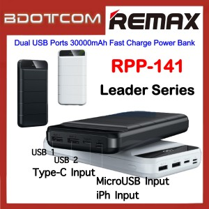 Remax RPP-141 Leader Series Dual USB Ports 30000mAh Fast Charge Power Bank for Samsung / Apple / Huawei / Xiaomi / Oppo / Vivo