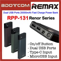 Remax RPP-131 Renor Series Dual USB Ports 20000mAh Fast Charge Power Bank for Samsung / Apple / Xiaomi / Huawei / Oppo / Vivo