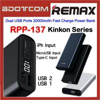 Remax RPP-137 Kinkon Series Dual USB Ports 20000mAh Fast Charge Power Bank for Samsung / Apple / Huawei / Xiaomi / Oppo / Vivo