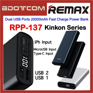 Remax RPP-137 Kinkon Series Dual USB Ports 20000mAh Fast Charge Power Bank for Samsung / Apple / Huawei / Xiaomi / Oppo / Vivo