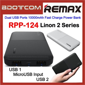 Remax RPP-124 Linon 2 Series Dual USB Ports 10000mAh Fast Charge Power Bank for Samsung / Apple / Xiaomi / Huawei / Oppo / Vivo