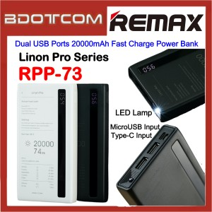Remax RPP-73 Linon Pro Series Dual USB Ports 20000mAh Fast Charge Power Bank with LED Lamp for Samsung / Apple / Xiaomi / Huawei / Oppo / Vivo